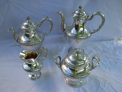 BOULENGER,ANTIQUE FRENCH STERLING SILVER TEA,COFFEE SET,4 PIECES,EARLY 20th .