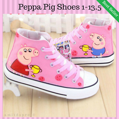 New Peppa Pig Trainers Casual Pink Shoes All Over Print Girls Boys Size 1-13.5