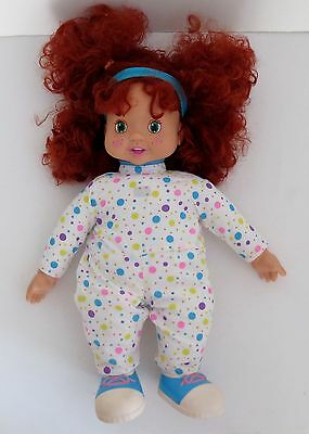 """Play By Play Talking Tots 1996 Vinyl/Cloth 15"""" Doll With Red Hair Green Eyes"""