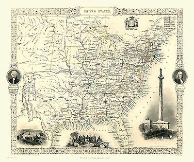 Jigsaw Puzzle Map of United States of America USA 1851 by John Tallis