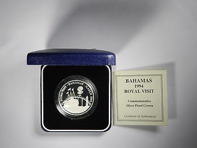 1994 Bahamas Royal Visit Silver Proof Commemorative In Box! Inv#354
