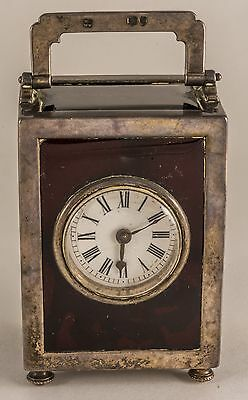 1894 Antique  Sterling Silver Guilloche Enamel French Carriage Clock