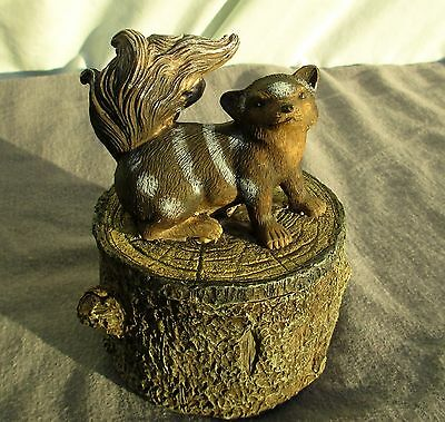 Vintage Trinket Box Skunk Paper Clip Holder Paper Weight Rustic Lodge NEW 4.75""