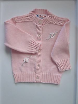 Vintage Pink Acrylic Baby Sweater, Size 12-18 Months,  Made USA by Blue Bird