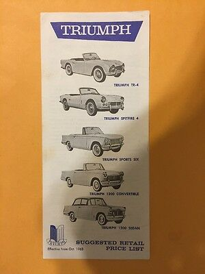 Vintage Triumph Herald Sports SiX Spitfire TR4 Sales Brochure US Collectable