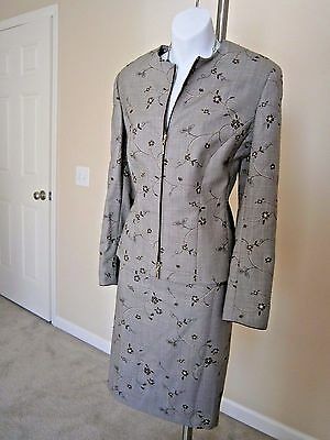 ESCADA Tan/Brown 100% Wool Embroidery Floral Stitch 2pc Vintage Skirt Suit Sz 42