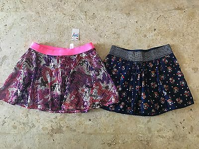 Justice girls skirts sequin floral size 10 pink silver blue NWTs