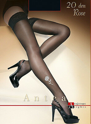Classic Stockings Germany  Lace Top Stay Up Roseprint Black