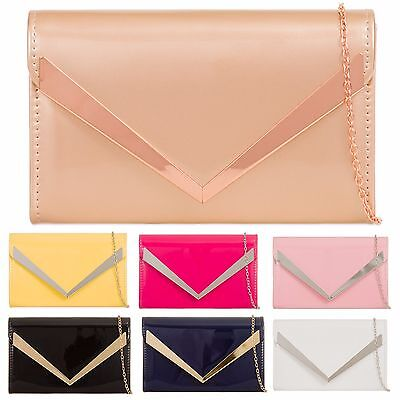 Patent Leather Envelope Metal Party Prom Evening Wedding Bridal Clutch Handbags