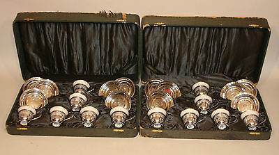 12 Mauser Sterling Silver Cups Saucers Lenox Porcelain Gold Inserts Fitted Cases