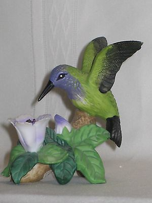 Russ Berrie Co. Porcelain Hummingbird Figurine with Purple/White Flowers #15440