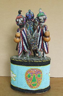 African Yoruba Beaded Crown with Horse, Rider and Four Attendants. Very Early.