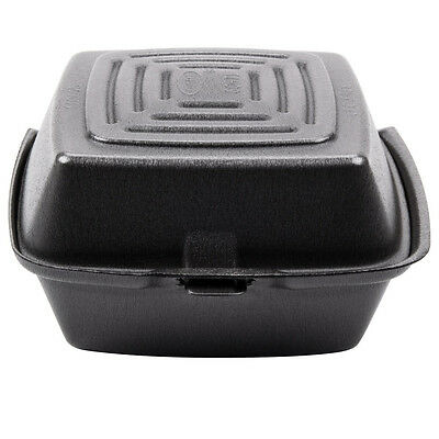 """Dart 60HT1 6"""" x 6"""" x 3"""" Foam Hinged Lid Container - 10/Pack"""