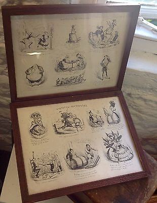 Antique 'nautical Dictionary' Georgian Cartoons With Original Frames Maritime