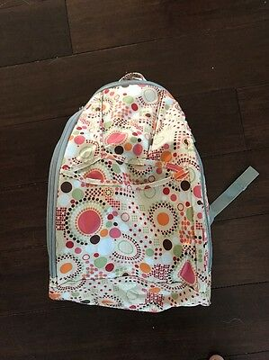 WESTLIFE Diaper Backpack Bag, Cream with Green Orange Brown Red DOTS, EUC