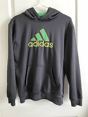 Boys Youth Adidas Sweatshirt Green Gray Hooded Hoodie Size Large L