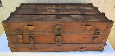 Antique Steamer Trunk Chest w/ Tray Flattop Rustic Stagecoach Canvas Wood Metal