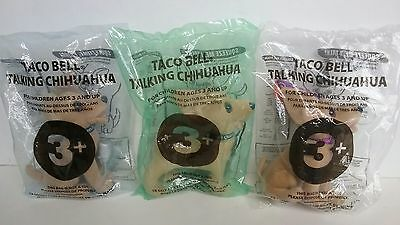 Set Of 3 Plush Taco Bell Talking Chihuahuas (2 No Sound & 1 Has Sound)
