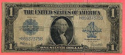 1923 $1 silver certificate. Large Size, Blue Seal One Dollar. Circulated.Lot#239