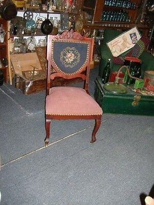 Mahogany Victorian Carved Inlaid Needlepoint Parlor Chair Vintage Antique
