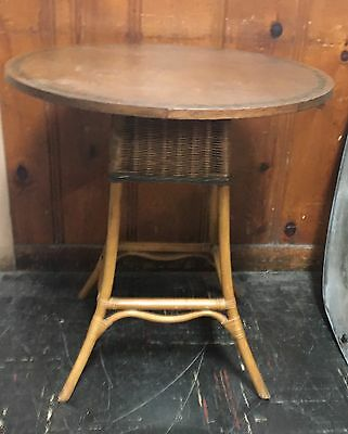 Antique French Rattan Round Table w/Unique Tole Painted Solid Beech Wood Top