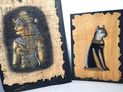 2 Houssoun Papyrus Art Egyptian Princess Queen Nefertari Bastet Cat Cork Artwork