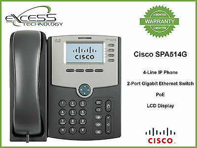 Cisco SPA514G 4-Line IP Phone with 2-Port Gigabit Ethernet Switch, PoE, and LCD