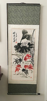Preowned   Chinese  Watercolor Painting Scroll KOI Fish and Pond