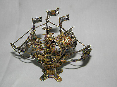 Vintage Sterling Silver Filigree Galleon Ship with sails Portugal