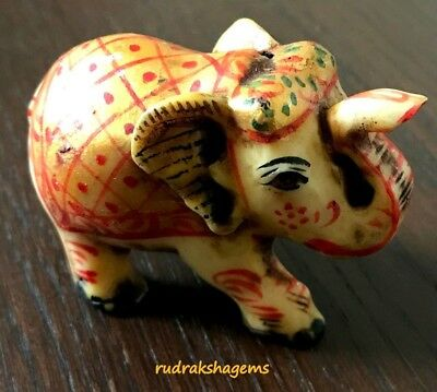 Beautiful Kerala Elephant Statue Ornament Figurine Handmade Painted Indian Gifts
