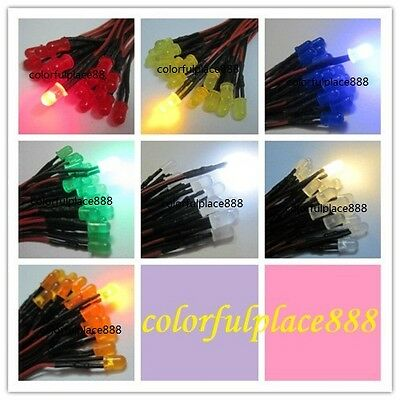 21pcs Mixed Color 3mm LED Prewired Light DC3-5V 20cm LED Prewired