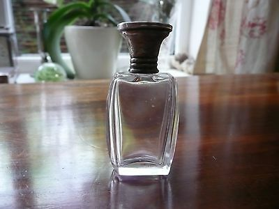 ANTIQUE 19th/early 20th c. Glass perfume bottle, sterling silver lid
