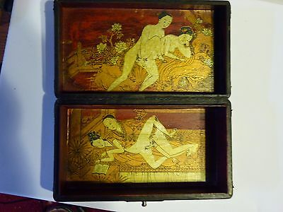 Vintage Chinese Erotic Box - Hand Painted Embossed Leather