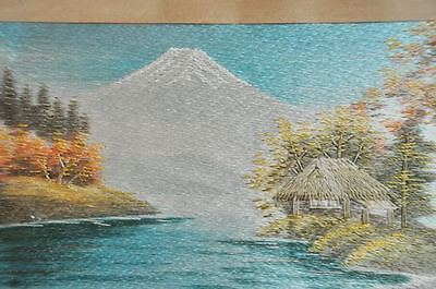 Antique Japanese Oriental Silk Embroidery Of Mount Fuji Japan