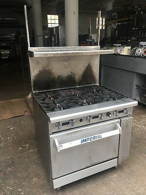 Imperial COMMERCIAL NATURAL GAS 6 BURNERS S.S. STOVE/RANGE w/OVEN