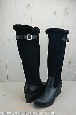 f8122ff6397 UGG MISCHA BLACK Leather Waterproof Wedge Thinsulate Rainboots Us 10 In Box