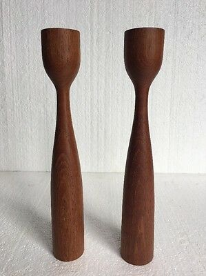 Vintage MID-CENTURY DANISH MODERN Wooden Wood TEAK TULIP CANDLE HOLDERS