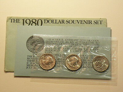 US 1980 Susan B Anthony Dollar Set with COA , Packaging Error !!! #G4846