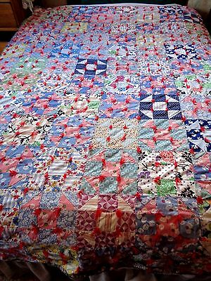1930's Antique Quilt, 2 in. Squares~vtg floral feedsack fabric, tied~VGC~84 x 57