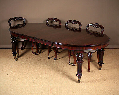 Antique Eight Seater Extending Mahogany Campaign Dining Table c.1850.