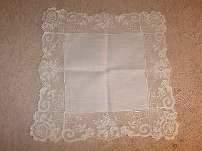 Vintage Handkerchief Small White Linen with Lace Trim    #13
