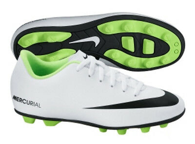 Nike Jr Mercurial Vortex FG Youth Soccer Cleats Shoes White Neon Green Sz 3 NEW!