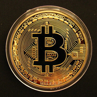 Gold Plated Bitcoin Coin BTC Coin Art Collection Collectible Physical Gift UK