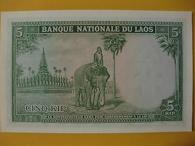Laos 5 Kip Vietnam era note Elephant and rider unc very nice banknote
