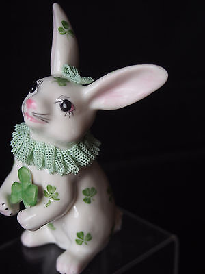 IRISH DRESDEN Bunny Rabbit Figure w Shamrock Clover Hand Painted Porcelain Lace