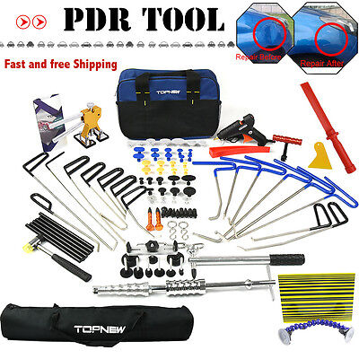 PDR 16PCS Rods Kit Tools Paintless Dent Lifter Hammer Repair Hail Removal Tools