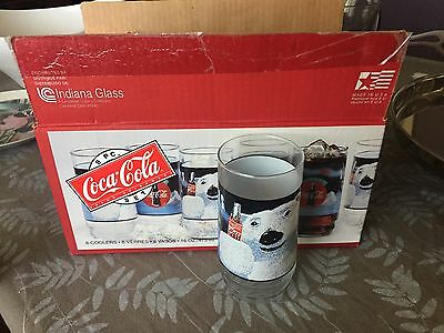 Coke Coca Cola Polar Bear Glasses 8 Pieces Beverage Set 16oz Indiana Glass New