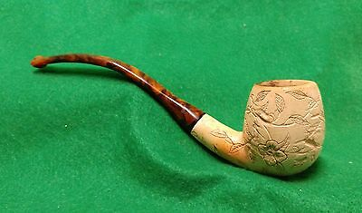 Meerschaum Pipe Bent Stem Carved Flowers And Leaves Nice RARE Estate