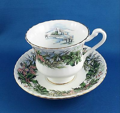 Vintage Royal Standard Cup & Saucer Holy, Leaves, Flowers & Village in Winter