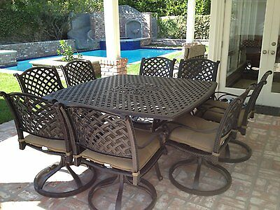 9 Piece For 8 Cast Aluminum Outdoor Patio Square Dining Set With